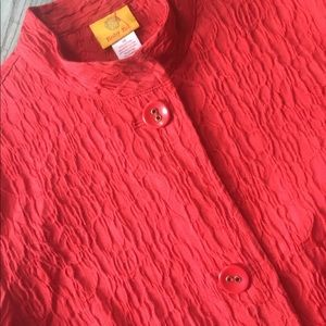 Red, crinkle fabric jacket, high collar